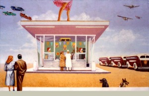 public art, graphics, murals, diners, vintage, retro, dogs, flying aces